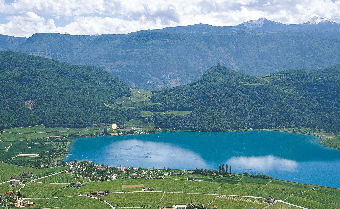 Panoramic views of Lake Caldaro in Alto Adige