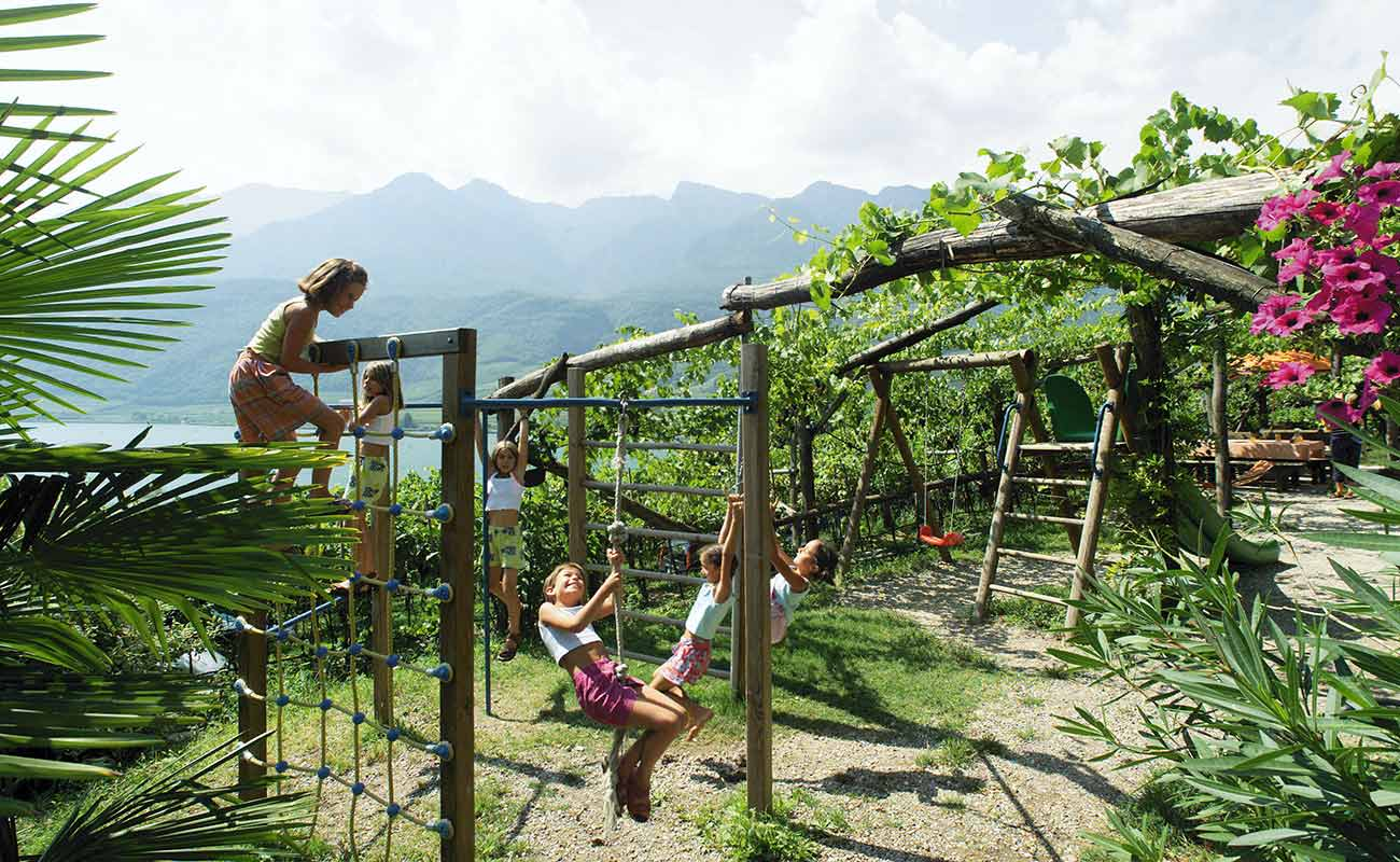 Children playing in the playground of the Residence in Caldaro Kalterer See